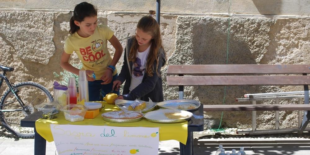 Деца - две момичета, продават лимонада на собствен